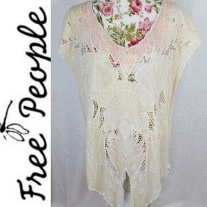 FREE PEOPLE Antiqued Seashell Embroidered Tunic